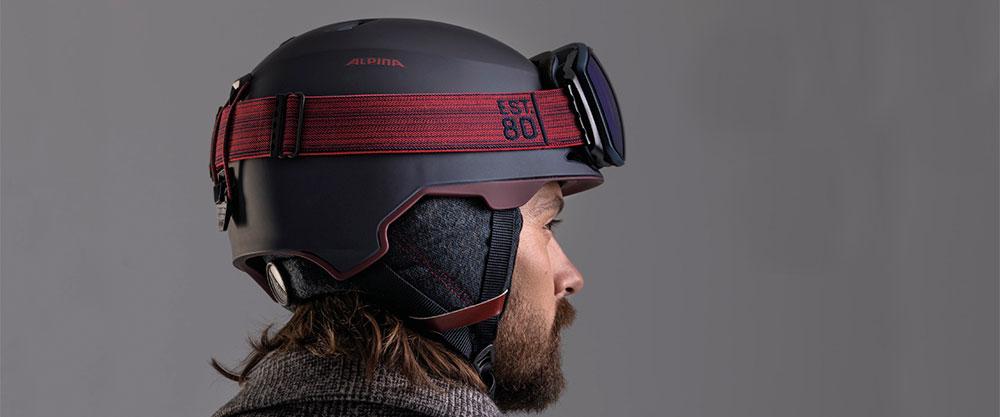 Alpina Helm marine mit Brille